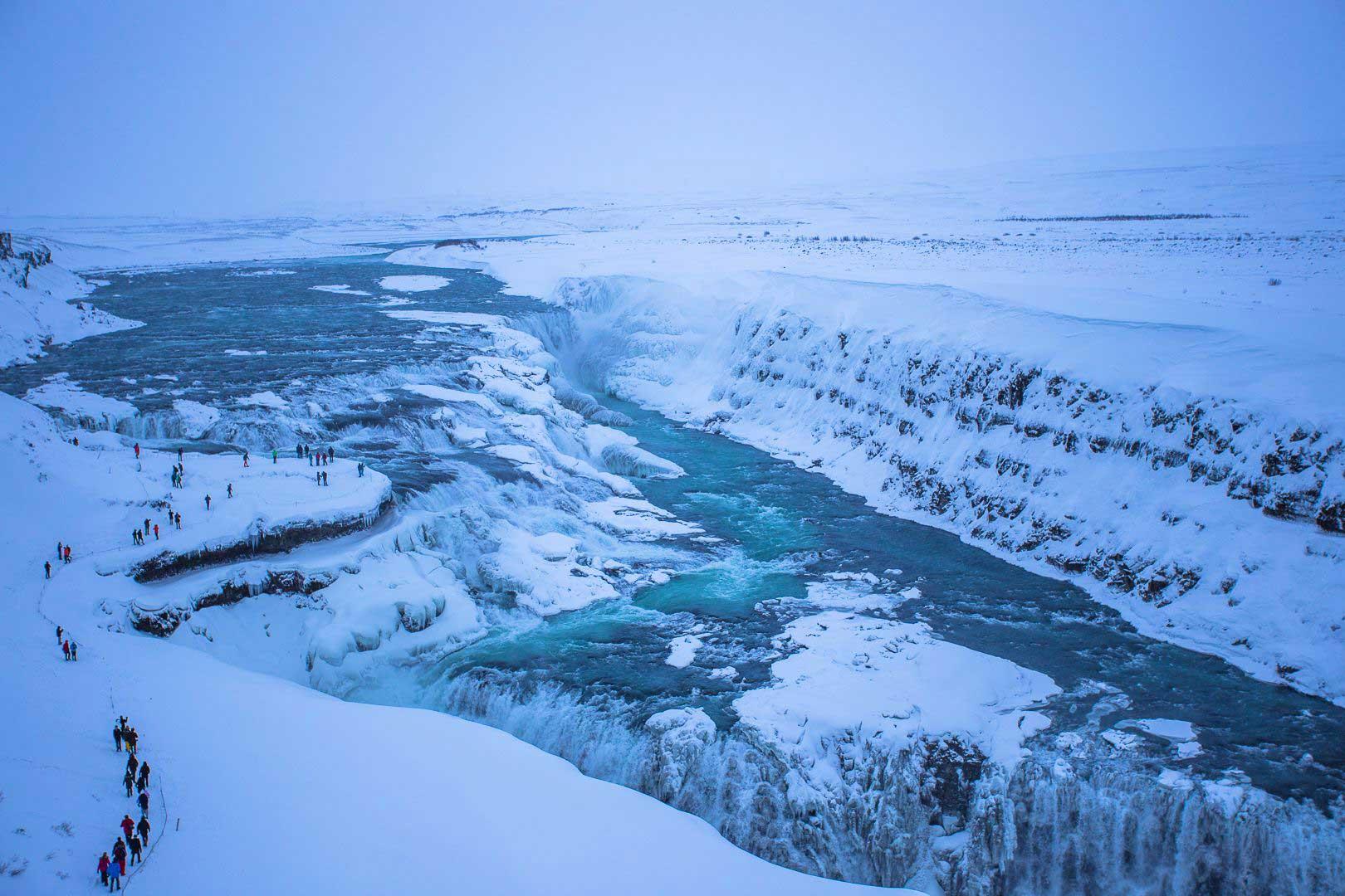 Nordic Lodges Island Winter Saison Gullfoss Wasserfall