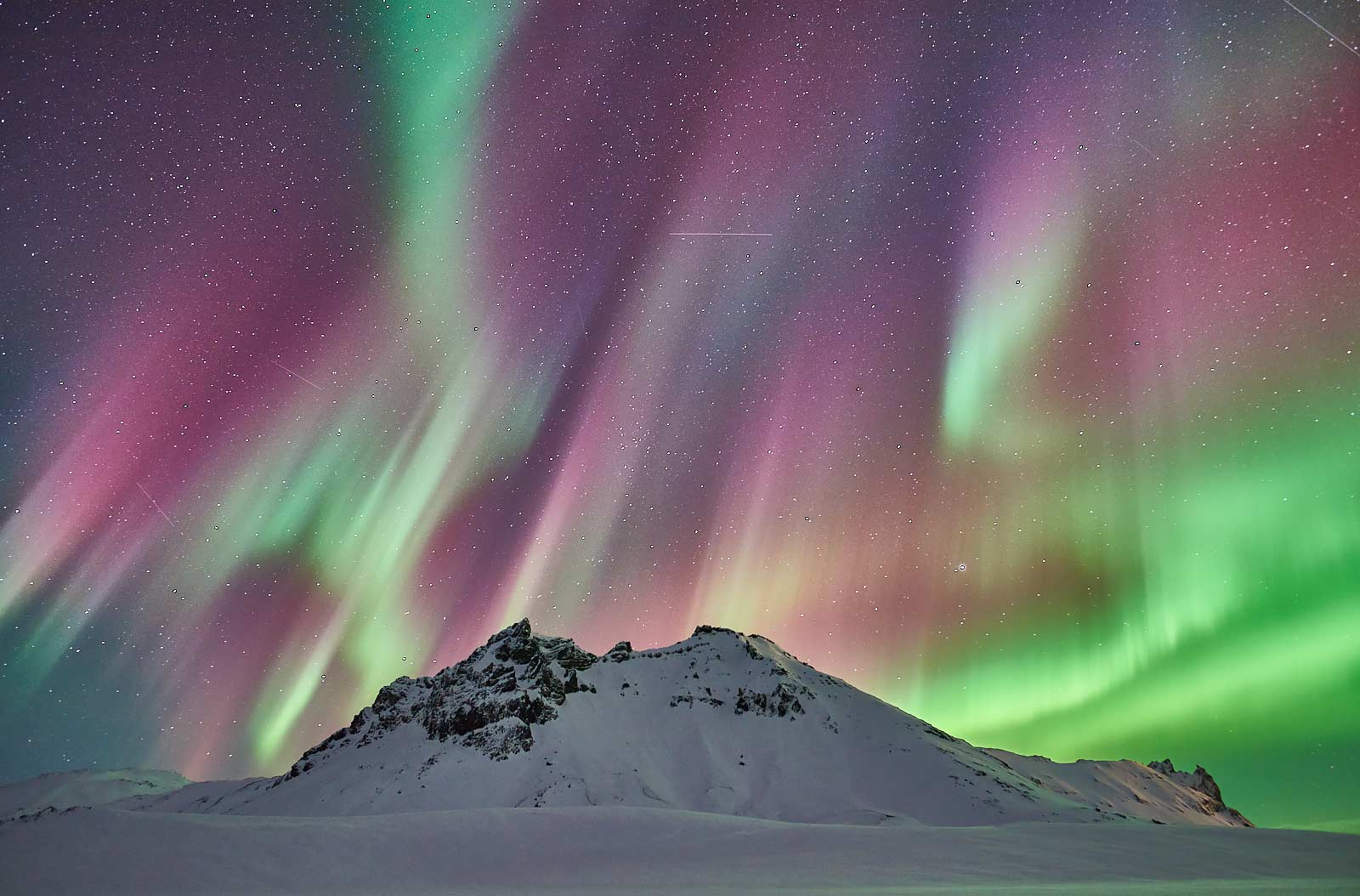 Northern Lights, Aurora Borealis, Winter, Iceland, Mountain, Snow, Ice, Night