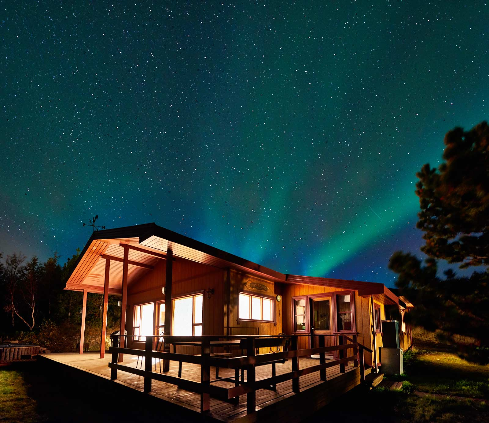 Northern Lights, Aurora Borealis, Hamragil Lodge, Iceland