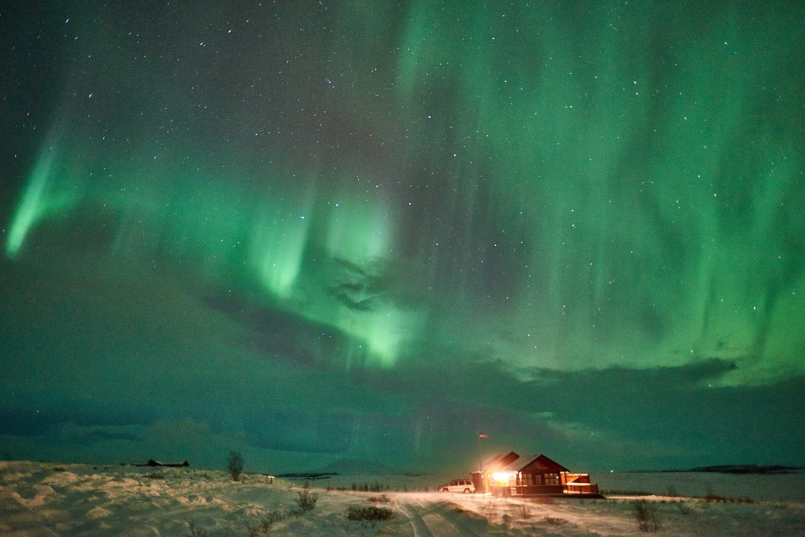 holiday home, iceland, cottage, golden circle, northern lights, winter