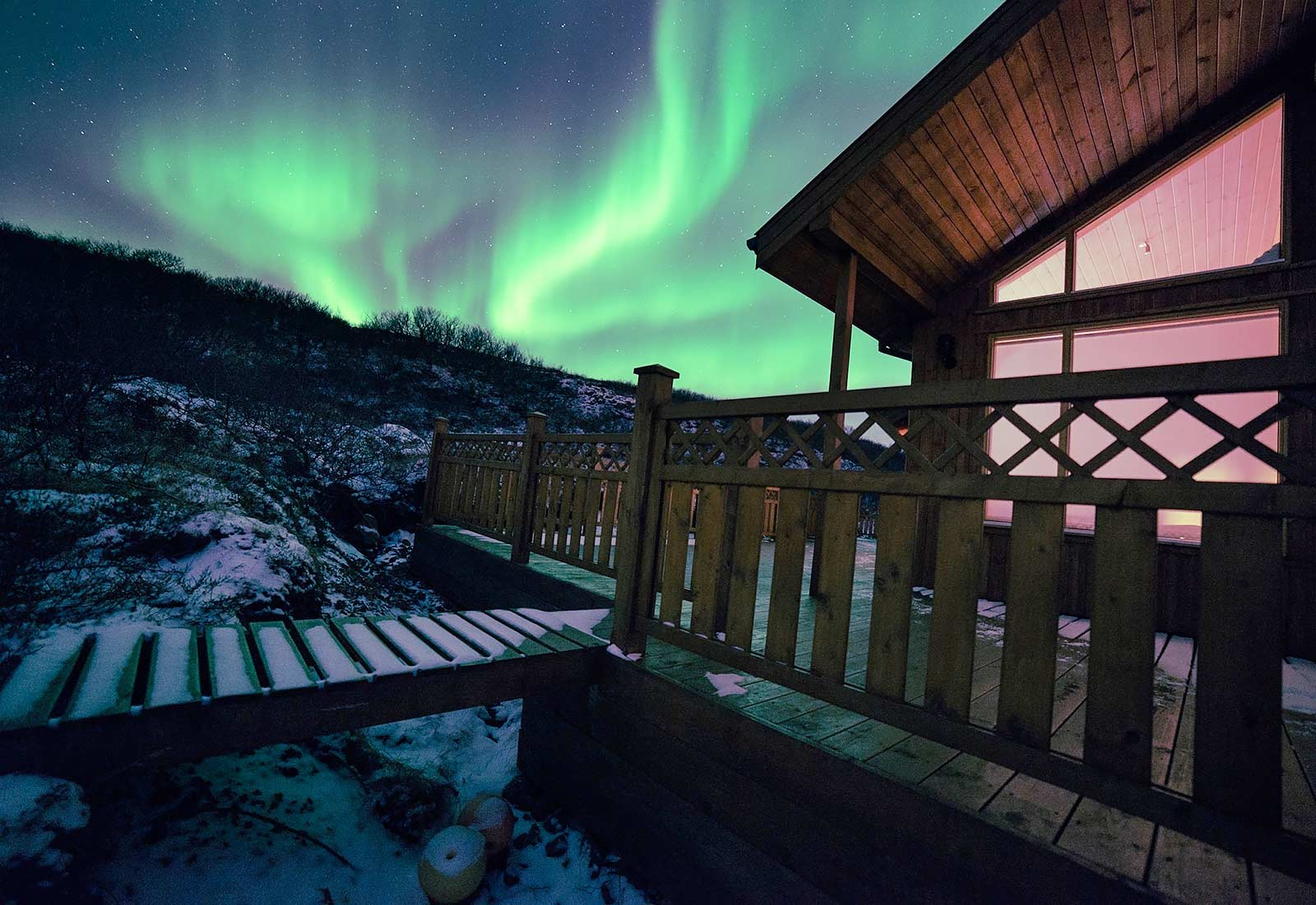 Northern Lights, Aurora Borealis, Langholt Lodge, Winter, Iceland