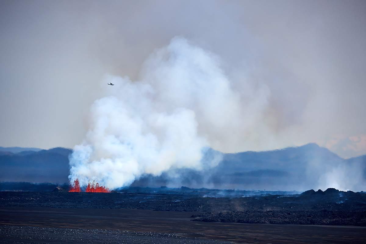 Vulkan, Ausbruch, Lava, Flugzeug