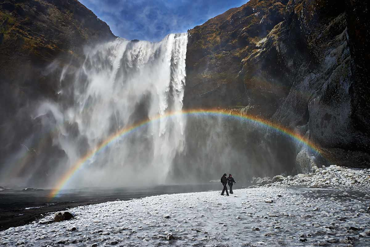 Skogafoss, Iceland, rainbow, winter