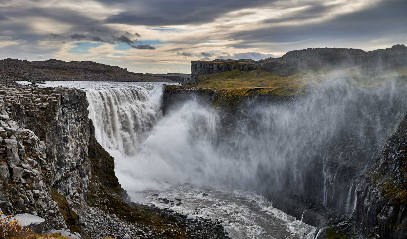 Dettifoss, waterfall, holiday home Hamragil, northeast, Iceland, vacation home