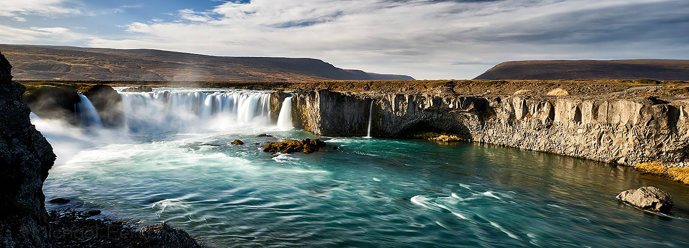 Godafoss, Iceland, waterfall, holiday home Hamragil, vacation home